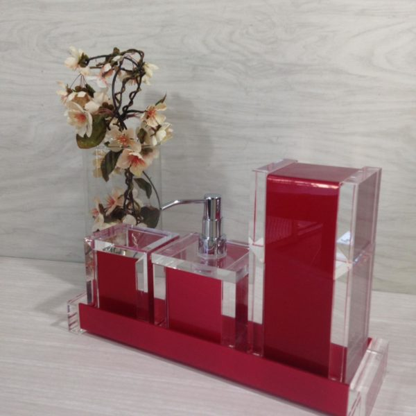 Kit 4 peças Decor Duo Red Gold